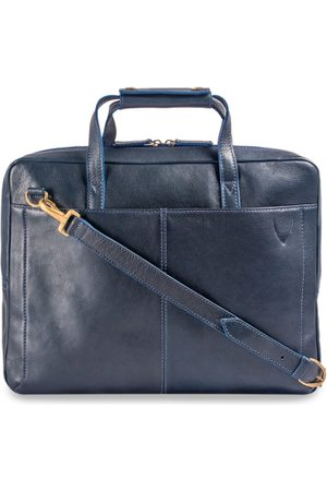 Hidesign Men Navy Blue Solid Laptop Leather Bag