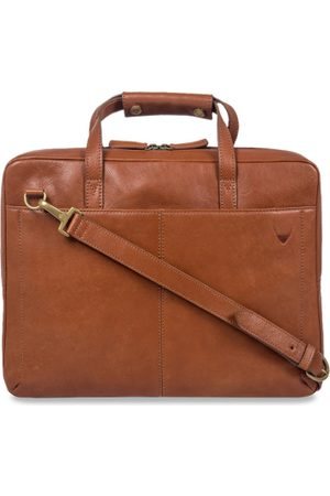 Hidesign Men Tan Brown Solid Leather Laptop Bag