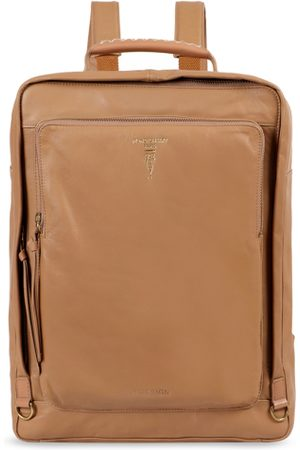 Hidesign Men Tan brown Solid Backpack