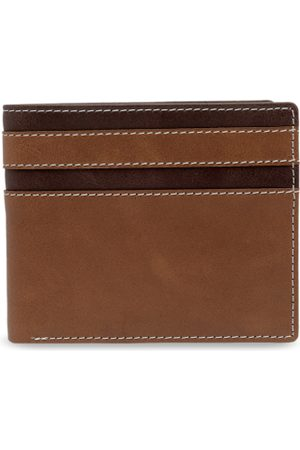 amicraft Men Brown Striped Two Fold Genuine Leather Wallet