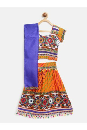 BownBee Orange & Blue Embroidered Ready to Wear Lehenga & Blouse with Dupatta
