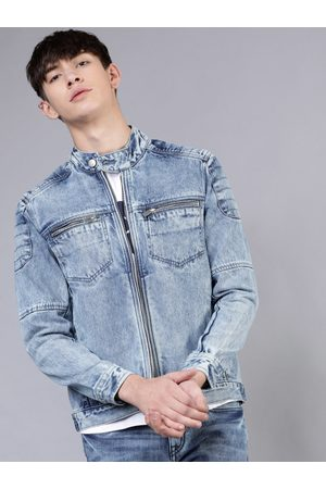 Highlander Men Blue Solid Denim Jacket