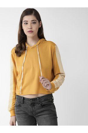 Pluss Women Mustard Yellow Solid Hooded Crop Sweatshirt