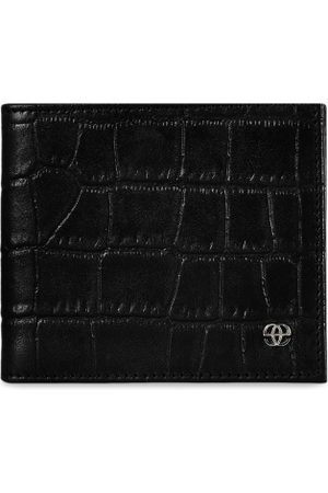 Eske Men Black Crocodile Skin Textured Two Fold Leather Wallet