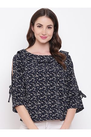 Mayra Women Blue & White Printed A-Line Top