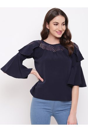 Mayra Women Navy Blue Solid A-Line Top
