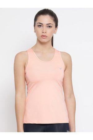 Invincible Women Peach-Coloured Solid Tank Top