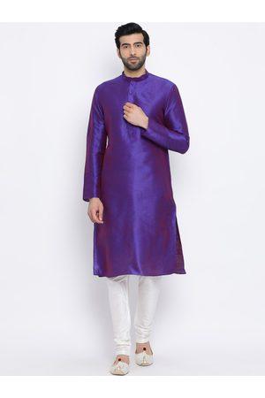NAMASKAR Men Purple & Off-White Solid Kurta with Churidar