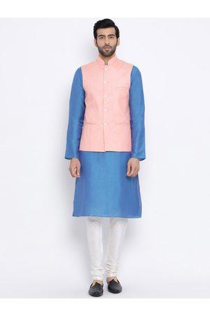 NAMASKAR Men Blue & White Solid Kurta with Churidar