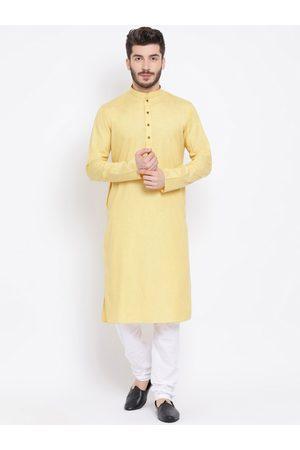 NAMASKAR Men Yellow & White Solid Kurta with Churidar