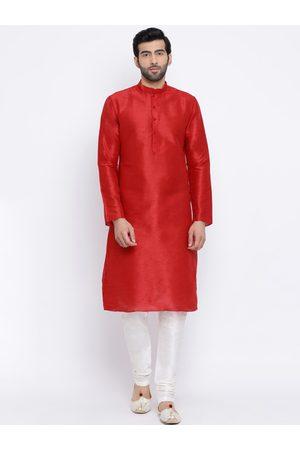 NAMASKAR Men Red & White Solid Kurta with Churidar