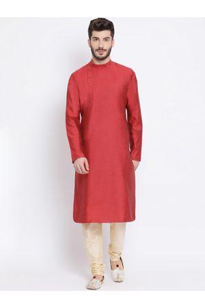 NAMASKAR Men Maroon & Gold-Coloured Solid Silk Kurta with Churidar