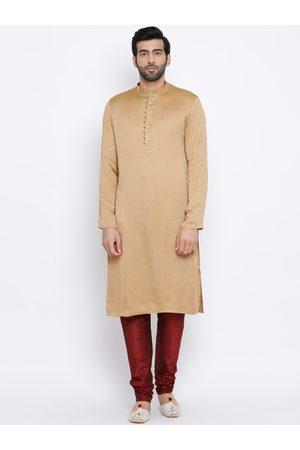 NAMASKAR Men Khaki & Brown Solid Kurta with Churidar