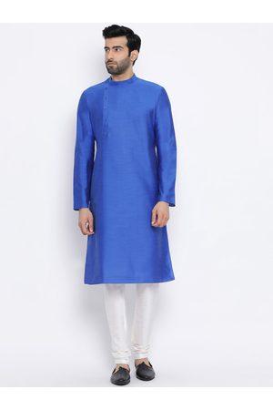 NAMASKAR Men Blue & Off-White Solid Silk Kurta with Churidar