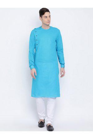 NAMASKAR Men Turquoise Blue & White Solid Kurta with Churidar
