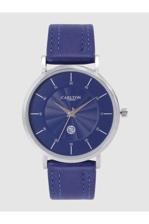 Carlton London Men Navy Blue Textured Analogue Watch CG033SBLB