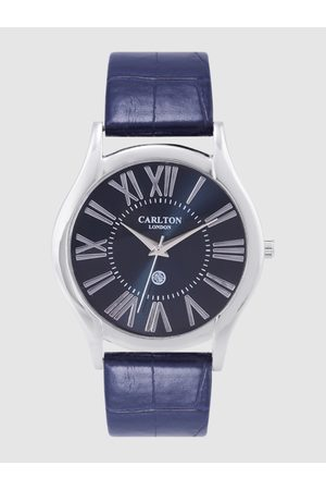 Carlton London Men Navy Blue Analogue Watch CG037SBLB