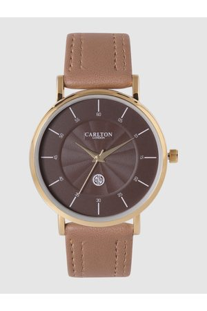 Carlton London Men Coffee Brown Textured Analogue Watch CG033GBRB