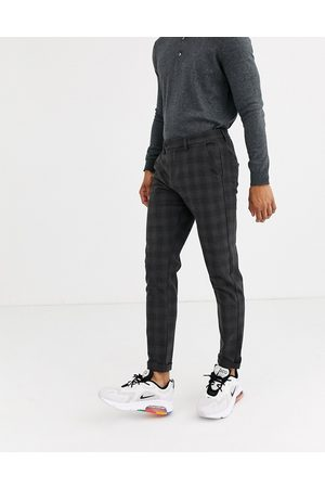 Jack & Jones Intelligence smart check trousers in