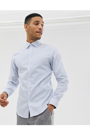 Selected Slim fit striped easy iron smart shirt in light