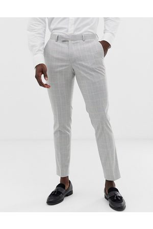 Moss Bros Moss London slim suit trouser in windowpane check with stretch