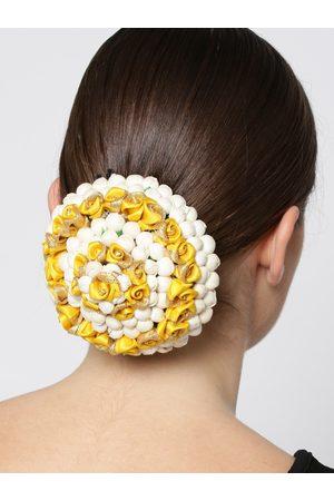 Priyaasi Off-White & Mustard Yellow Floral Hair Bun Cover
