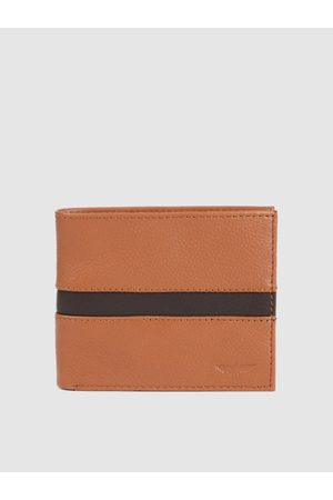 Park Avenue Men Khaki Solid Genuine Leather Two Fold Wallet