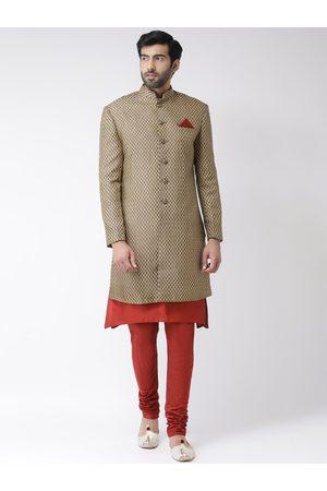 KISAH Men Brown & Red Printed Sherwani Set