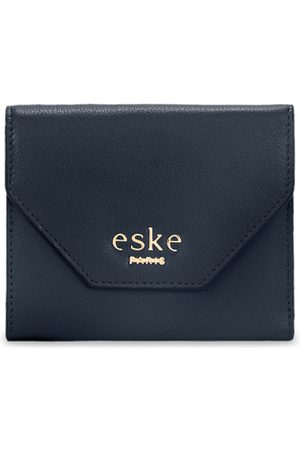 Eske Men Navy Blue Solid Three Fold Leather Wallet