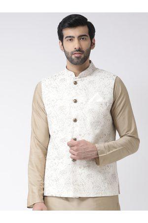 KISAH Men White & Gold-Toned Printed Nehru Jacket