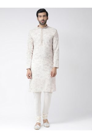 KISAH Men Cream-Coloured & White Printed Handloom Kurta with Churidar