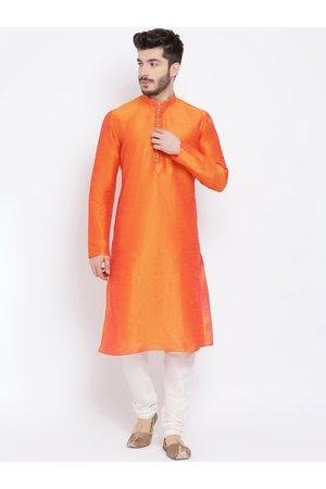 NAMASKAR Men Orange & White Solid Kurta with Churidar