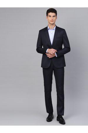 MANQ Men Navy Blue Solid Slim Fit Formal Suit