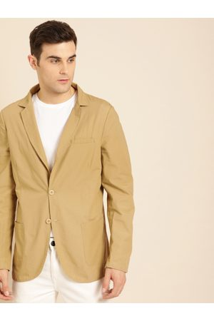 Ether Men Khaki Solid Regular Fit Single-Breasted Casual Blazer