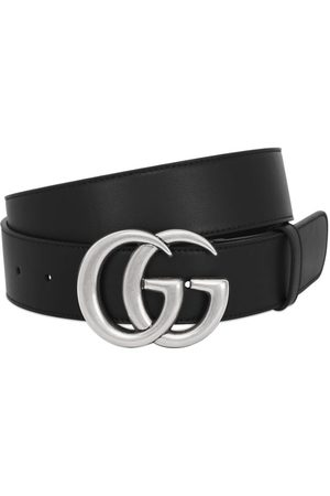 Gucci Men Belts - 40mm Gg Buckle Smooth Leather Belt