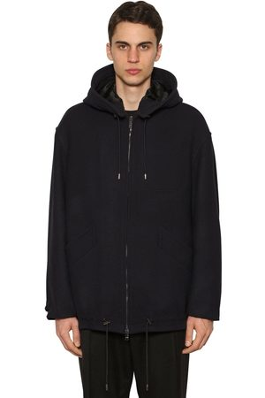 VALENTINO Hooded Wool Blend Casual Jacket