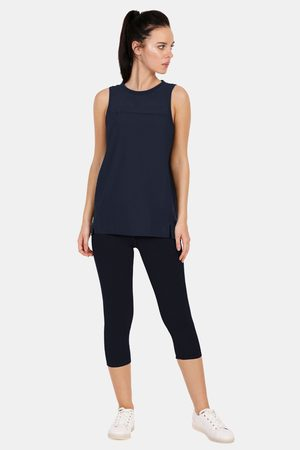 Amante Easy Movement Moisture Wicking Seamless Tank Top Navy Blue