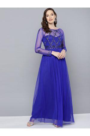 STREET 9 Women Blue Embellished Maxi Dress