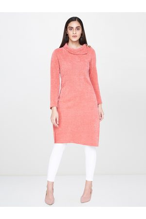 AND Women Coral Pink Self Striped Tunic