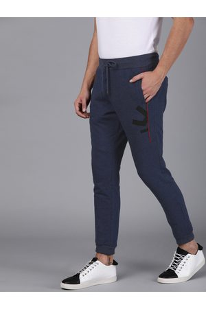WROGN Men Navy Blue Slim Fit Solid Joggers