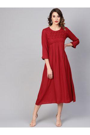 Yash Gallery Women Self Design Maroon A-Line Dress