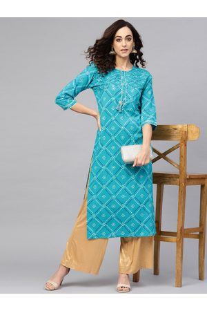 Yash Gallery Women Blue & Off-White Bandhej Print Straight Kurta