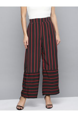 marie claire Women Black & Red Regular Fit Striped Parallel Trousers