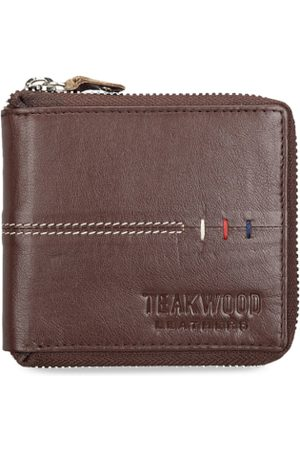 Teakwood Leathers Men Brown Solid Leather Zip Around Wallet