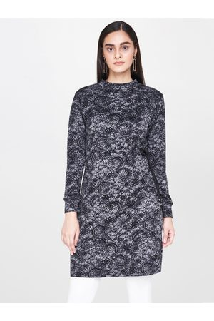 AND Women Charcoal Grey & Black Printed Tunic