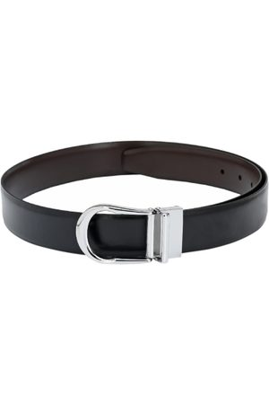 Pacific Men Black & Brown Solid Leather Reversible Belt