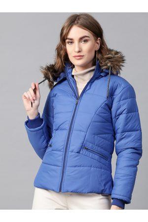 adidas Women Blue Solid Hooded Parka Jacket