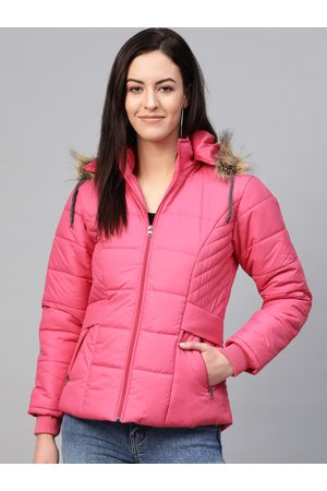 VOXATI Women Pink Solid Parka Jacket with Detachable Hood