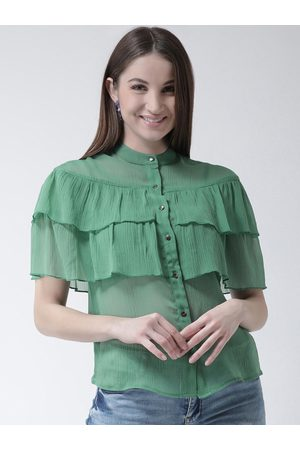 KASSUALLY Women Green Solid Shirt Style Top