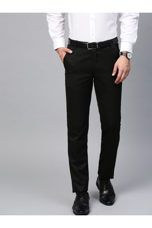 MANQ Men Black Smart Slim Fit Solid Formal Trousers